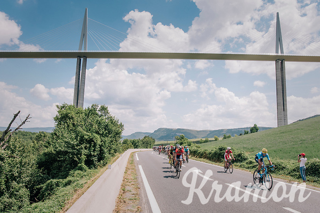 peloton passing under the world's highest suspencion bridge: Le Viaduc de Millau<br /> <br /> Stage 15: Millau > Carcassonne (181km)<br /> <br /> 105th Tour de France 2018<br /> ©kramon