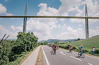peloton passing under the world's highest suspencion bridge: Le Viaduc de Millau<br /> <br /> Stage 15: Millau &gt; Carcassonne (181km)<br /> <br /> 105th Tour de France 2018<br /> &copy;kramon