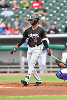 Birmingham Barons third baseman Ti'Quan Forbes (9) swings at a pitch during a game against the Tennessee Smokies at Smokies Stadium on May 15, 2019 in Kodak, Tennessee. The Smokies defeated the Barons 7-3. (Tony Farlow/Four Seam Images)