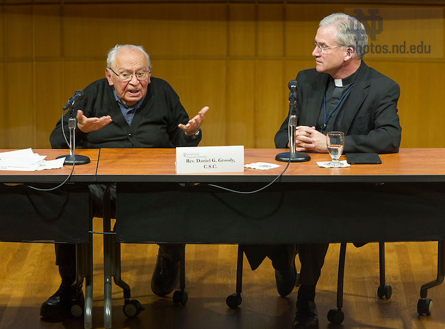 April 5, 2016; A Conversation with Gustavo Gutierrez, O.P., chaired by Rev. Daniel G. Groody, C.S.C., Associate Professor of Theology, Notre Dame in the Hesburgh Center auditorium. (Photo by Barbara Johnston/University of Notre Dame)