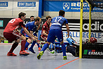 Mannheim, Germany, January 07: During the 1. Bundesliga Herren Hallensaison 2017/18 Sued  hockey match between Mannheimer HC (blue) and Nuernberger HTC (red) on January 7, 2018 at Irma-Roechling-Halle in Mannheim, Germany. Final score 7-4 (HT 2-2). (Photo by Dirk Markgraf / www.265-images.com) *** Local caption *** Christopher Wesley #10 of Nuernberger HTC, Fabian Pehlke #32 of Mannheimer HC, Patrick Harris #17 of Mannheimer HC, Steffen Koenig #1 of Nuernberger HTC