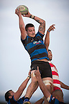 Courtney Roberts takes lineout ball for Onewhero. Counties Manukau Premier Club Rugby game between Karaka and Onewhero, played at Karaka, on Saturday April 26 2014. Karaka won the game 26 - 23 after trailing 7 - 8 at halftime  Photo by Richard Spranger
