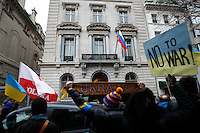 Ukrainian immigrants take part in a protest against war in front of the Russia consulate in New York. March 2, 2014. Photo by Eduardo Munoz Alvarez/VIEWpress