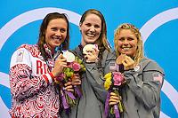 Anastasia Zueva Russia Silver Medal, Missy Franklin USA Gold Medal, Elizabeth Beisel Usa Bronze Medal Women's 200m Backstroke.London 3/8/2012 Aquatics Center.London 2012 Olympic games - Olimpiadi Londra 2012.Swimming - Nuoto.Foto Andrea Staccioli Insidefoto