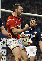 George North of Wales celebrates his try during the RBS 6 Nations Championship rugby game between Wales and Scotland at the Principality Stadium, Cardiff, Wales, UK Saturday 13 February 2016