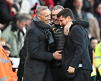 Watford managerNigel Pearson middle celebrates with staff at the final whistle during AFC Bournemouth vs Watford, Premier League Football at the Vitality Stadium on 12th January 2020