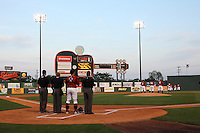 Nashville Sounds during the national anthem before a game against the Omaha Storm Chasers at Greer Stadium on April 25, 2011 in Nashville, Tennessee.  Omaha defeated Nashville 2-1.  Photo By Mike Janes/Four Seam Images