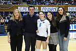DURHAM, NC - NOVEMBER 24: Duke's Nicole Elattrache was honored with her family on Senior Day. The Duke University Blue Devils hosted the University of North Carolina Tar Heels on November 24, 2017 at Cameron Indoor Stadium in Durham, NC in a Division I women's college volleyball match. Duke won 3-0 (25-21, 25-22, 25-20).