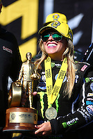 Aug 21, 2016; Brainerd, MN, USA; NHRA top fuel driver Brittany Force celebrates after winning the Lucas Oil Nationals at Brainerd International Raceway. Mandatory Credit: Mark J. Rebilas-USA TODAY Sports