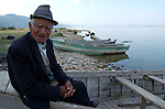 Pogradec-Albania - August 02, 2004---An old man from Pogradec taking a rest at the shore of Lake Ohrid; region/village of project implementation by GTZ-Wiram-Albania (German Technical Cooperation, Deutsche Gesellschaft fuer Technische Zusammenarbeit (GTZ) GmbH); portrait-people---Photo: Horst Wagner/eup-images