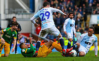 Preston North End's Lukas Nmecha battles with Blackburn Rovers' Corry Evans and Elliott Bennett<br /> <br /> Photographer Alex Dodd/CameraSport<br /> <br /> The EFL Sky Bet Championship - Blackburn Rovers v Preston North End - Saturday 9th March 2019 - Ewood Park - Blackburn<br /> <br /> World Copyright © 2019 CameraSport. All rights reserved. 43 Linden Ave. Countesthorpe. Leicester. England. LE8 5PG - Tel: +44 (0) 116 277 4147 - admin@camerasport.com - www.camerasport.com