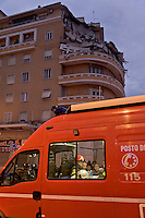 Rome, Italy. 22th January 2016<br /> A fireman works on the site where an appartment building collapsed . People were evacuated after a resident heard strange noises and raised the alarm before the building collapsed. There is no victims and an investigation is under way.