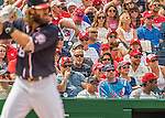 11 September 2016: A Montreal Expos fan watches Washington Nationals outfielder Jayson Werth in action against the Philadelphia Phillies at Nationals Park in Washington, DC. The Nationals edged out the Phillies 3-2 to take the rubber match of their 3-game series. Mandatory Credit: Ed Wolfstein Photo *** RAW (NEF) Image File Available ***