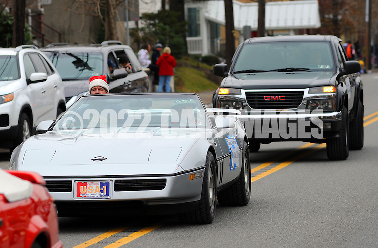 12/1/12 12:22:34 PM - Souderton, PA: .Parade Grand Marshall, Preston Elliot of Philadelphia radio station WMMR waves to the crowd during the Souderton/Telford Holiday Parade December 1, 2012 in Souderton, Pennsylvania -- (Photo by William Thomas Cain/Cain Images)
