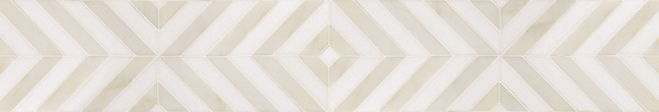 "6 3/4"" Maharaja Stripe border, a hand-cut stone mosaic, shown in Heavenly Cream and honed Thassos, is part of the Silk Road Collection by Sara Baldwin for New Ravenna Mosaics. Take the next step: prices, samples and design help, http://www.newravenna.com/showrooms/"