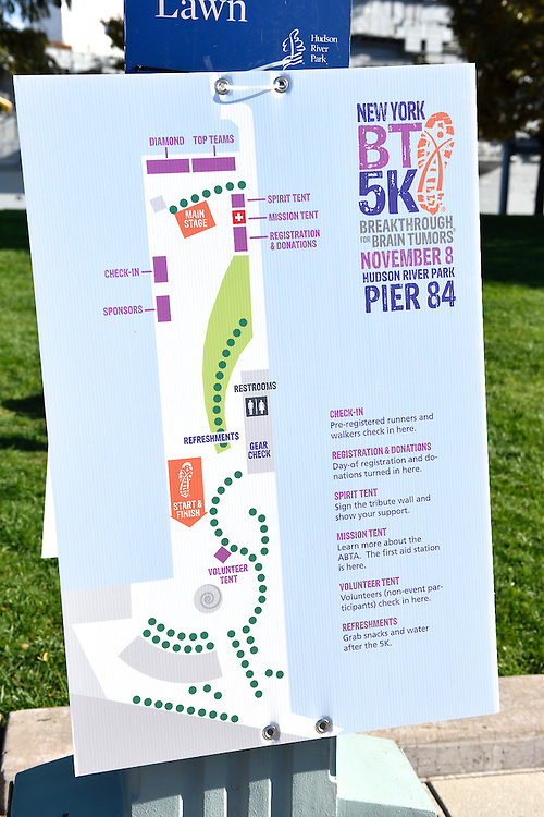 A sign with a map showing the race route.