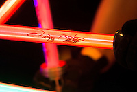 """Few lightsaber signed by british actor Ray Parks, who was Darth Maul at """"Star Wars Episode I"""" during the visit to Expocomic 2016 in Madrid, Spain. December 03, 2016. (ALTERPHOTOS/BorjaB.Hojas) /NORTEPHOTO.COM"""