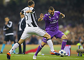 June 3rd 2017, National Stadium of Wales , Wales; UEFA Champions League Final, Juventus FC versus Real Madrid; Karim Benzema of Real Madrid takes on Andrea Barzagli of Juventus