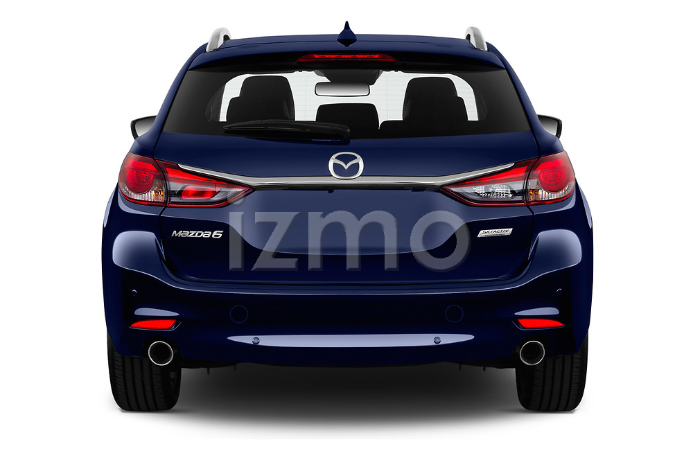 Straight rear view of 2019 Mazda Mazda6 Skycrusie 5 Door Wagon Rear View  stock images