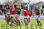 Mark Griffin Kerry in action against Ruairi Deane Cork in the National Football league in Austin Stack Park, Tralee on Sunday.