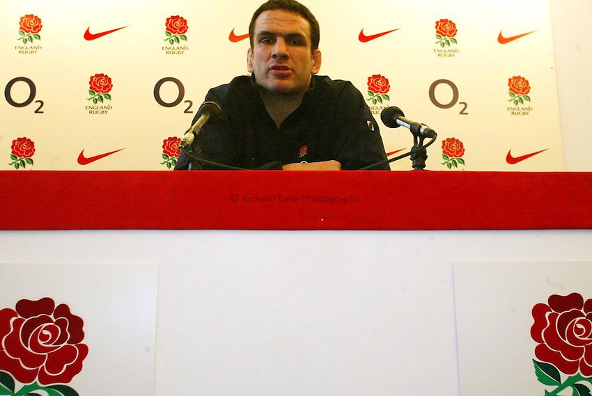 Photo: Scott Heavey.12/03/03..England Press Conference at Pennyhill Park Hotel..England captain Martin Johnson during the press conference