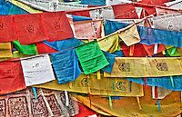 Prayer flags left as offerings outside the Potala Palace in Lhasa, Tibet.