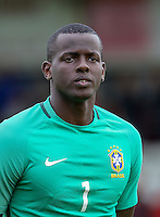 Goalkeeper Caique of Brazil during the International match between England U20 and Brazil U20 at the Aggborough Stadium, Kidderminster, England on 4 September 2016. Photo by Andy Rowland / PRiME Media Images.