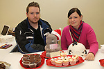 "Sarah Cunningham and Neil Costello from ""Custom Cakes"" at the Christmas Craft Fair in The Boyne Valley Hotel...(Photo credit should read Jenny Matthews www.newsfile.ie)....This Picture has been sent you under the conditions enclosed by:.Newsfile Ltd..The Studio,.Millmount Abbey,.Drogheda,.Co Meath..Ireland..Tel: +353(0)41-9871240.Fax: +353(0)41-9871260.GSM: +353(0)86-2500958.email: pictures@newsfile.ie.www.newsfile.ie."