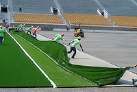 Installation of field turf in Notre Dame Stadium.