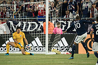 FOXBOROUGH, MA - JULY 27:  Brian Rowe #23 saves a shot on goal at Gillette Stadium on July 27, 2019 in Foxborough, Massachusetts.