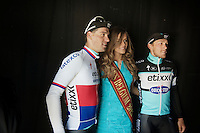 Zdenek Stybar (CZE/Etixx-QuickStep) & Matteo Trentin (ITA/Ettix-Quickstep) posing with Miss Belgium 2015 after the race, backstage on the podium<br /> <br /> <br /> 58th E3 Harelbeke 2015
