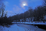 Morning Moonlight Shining on the Ashuelot River in Marlow, New Hampshire