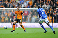 Wolverhampton Wanderers' Ruben Neves vies for possession with Birmingham City's Cheick Ndoye<br /> <br /> Photographer Ashley Crowden/CameraSport<br /> <br /> The EFL Sky Bet Championship - Wolverhampton Wanderers v Birmingham City - Sunday 15th April 2018 - Molineux - Wolverhampton<br /> <br /> World Copyright &copy; 2018 CameraSport. All rights reserved. 43 Linden Ave. Countesthorpe. Leicester. England. LE8 5PG - Tel: +44 (0) 116 277 4147 - admin@camerasport.com - www.camerasport.com