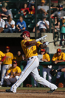 Vahn Bozoian #14 of the USC Trojans bats against the Northwestern Wildcats at Dedeaux Field on  February 16, 2014 in Los Angeles, California. USC defeated Northwestern, 13-6. (Larry Goren/Four Seam Images)