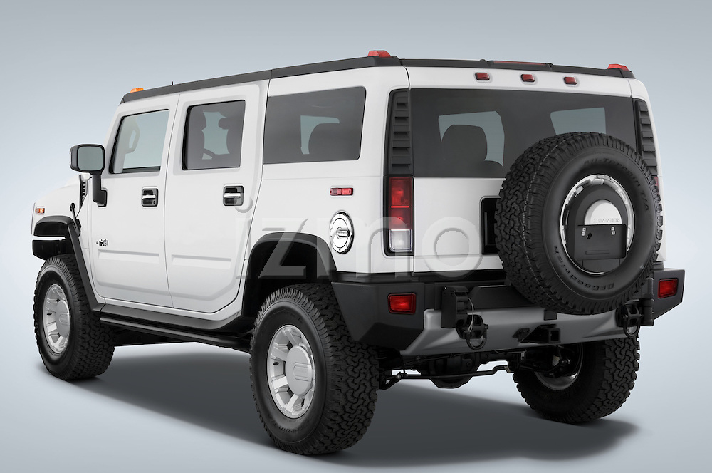 Rear three quarter view of a 2008 Hummer H2 SUV