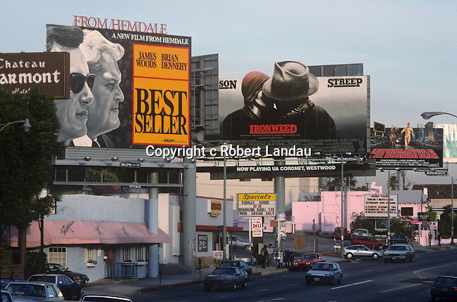 Billboards on the Sunset Stirp in Los Angeles circa 1988