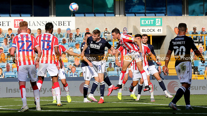 James Chester of Stoke City heads the ball out of defence during Millwall vs Stoke City, Sky Bet EFL Championship Football at The Den on 12th September 2020