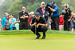 CROMWELL, CT. 20 June 2019-062019 - PGA Tour player Patrick Cantlay looks over his par putt on the fourth hole, during the first round of the Travelers Championship at TPC River Highlands in Cromwell on Thursday. Bill Shettle Republican-American