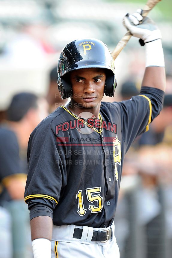 Second baseman Pablo Reyes (15) of the Bristol Pirates in a game against the Greeneville Astros on Friday, July 25, 2014, at Pioneer Park in Greeneville, Tennessee. Greeneville won, 9-4. (Tom Priddy/Four Seam Images)