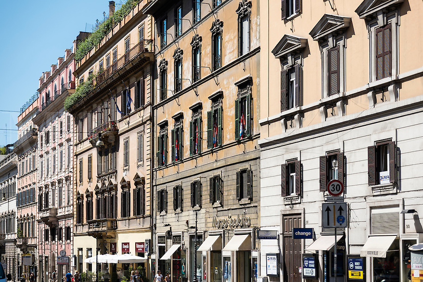 Stores along the Via Nazionale, Rome, Italy, Europe