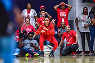 Washington, DC - August 31, 2018: Washington Mystics guard Natasha Cloud (9) is fired up after the Washington Mystics make a run late in the 4th quarter of the semi finals playoff game between Atlanta Dream and Wasington Mystics at the Charles Smith Center at George Washington University in Washington, DC. (Photo by Phil Peters/Media Images International)