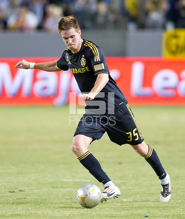 CARSON, CA - July 21, 2012: LA Galaxy defender Bryan Gaul (35) during the LA Galaxy vs Chivas USA match at the Home Depot Center in Carson, California. Final score LA Galaxy 3, Chivas USA 1.