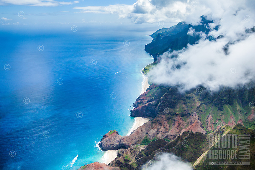 An aerial view of Na Pali coastline on Kaua'i.