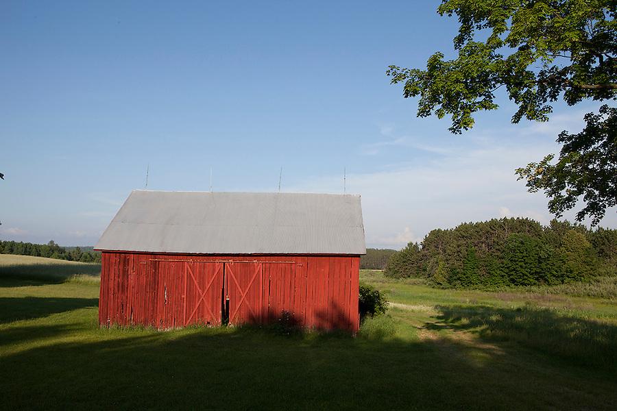 Red barn in summer, Williamsburg, Michigan, near Traverse City