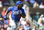 Los Angeles Dodgers&rsquo; Howie Kendrick gets a hit during a spring training game in Scottsdale, Ariz., on Friday, March 18, 2016. <br />Photo by Cathleen Allison