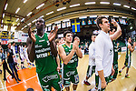 S&ouml;dert&auml;lje 2014-03-25 Basket SM-kvartsfinal 1 S&ouml;dert&auml;lje Kings - J&auml;mtland Basket :  <br /> S&ouml;dert&auml;lje Kings Assane Sene och Dino Butorac appl&aring;derar efter matchen<br /> (Foto: Kenta J&ouml;nsson) Nyckelord:  S&ouml;dert&auml;lje Kings SBBK J&auml;mtland Basket SM Kvartsfinal Kvart T&auml;ljehallen jubel gl&auml;dje lycka glad happy