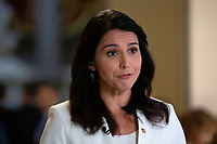 United States Representative Tulsi Gabbard (Democrat of Hawaii) speaks during a television interview at the United States Capitol in Washington D.C., U.S., on Thursday, January 9, 2020.<br /> <br /> Credit: Stefani Reynolds / CNP/AdMedia