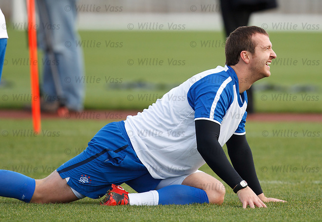 Andy Webster laughing at training