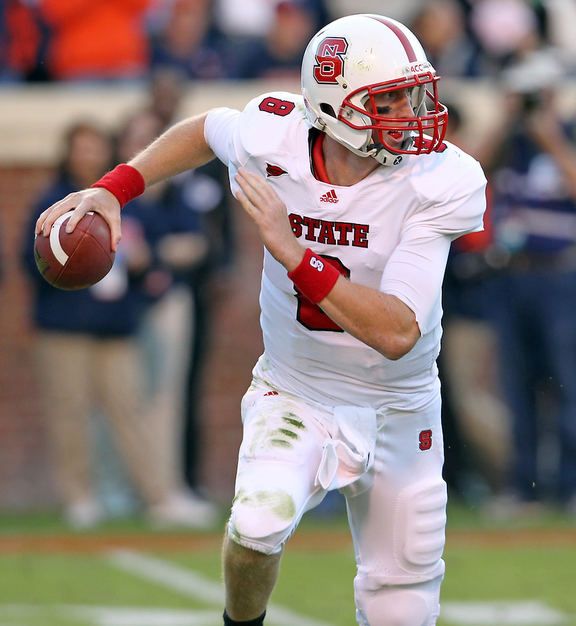 Oct. 22, 2011 - Charlottesville, Virginia - USA; North Carolina State quarterback Mike Glennon (8) handles the ball during an NCAA football game against the Virginia Cavaliers at the Scott Stadium. NC State defeated Virginia 28-14. (Credit Image: © Andrew Shurtleff/Z