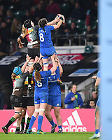 28th December 2019; Twickenham, London, England; Big Game 12 Womens Rugby, Harlequins versus Leinster; Alice Sheffield of Harlequins and Hannah O'Connor of Leinster compete for the lineout ball - Editorial Use